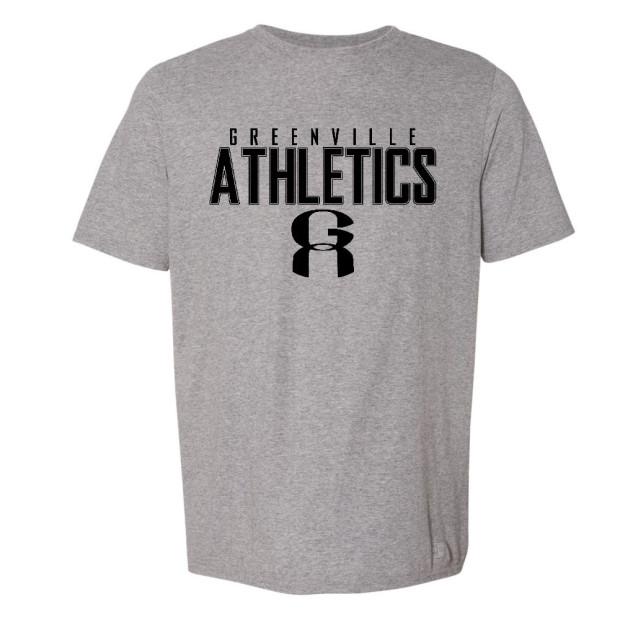 GA Grey Russell Athletic Tee   Word Logo