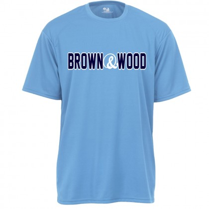 Brown & Wood Warm-Up Tee | Word Log Columbia Blue