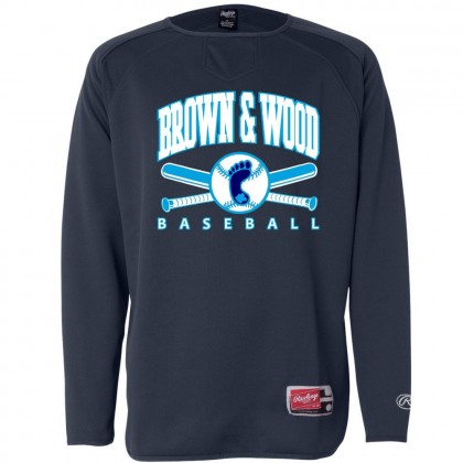 Brown & Wood Baseball Rawlings Long Sleeve Flatback Mesh Fleece Pullover