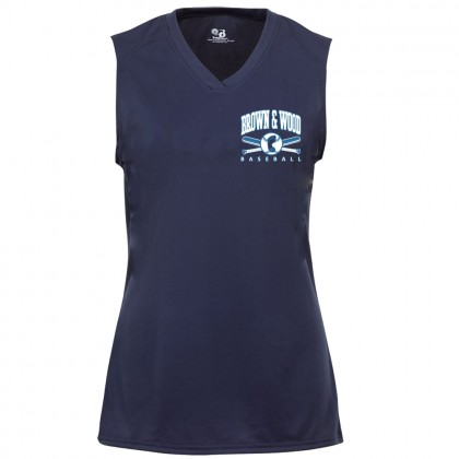 Brown & Wood Ladies Sleeveless V-Neck Performance Tee | Small Logo