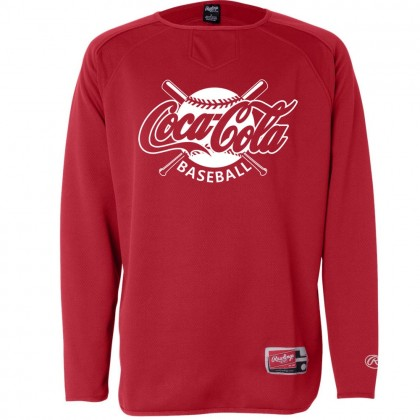 Coca-Cola Baseball Rawlings Long Sleeve Flatback Mesh Fleece Pullover