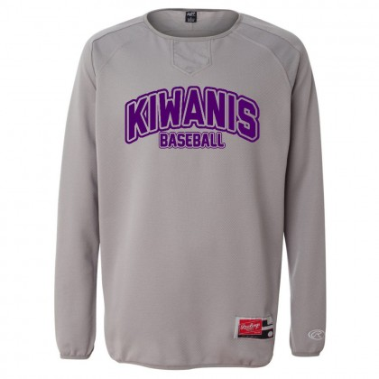 Kiwanis Baseball Rawlings Long Sleeve Flatback Mesh Fleece Pullover