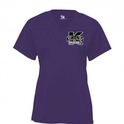 Kiwanis Ladies Small Logo V Neck Performance Tee