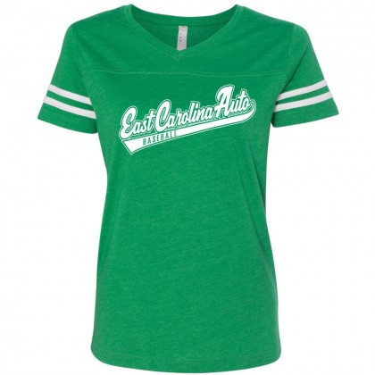 ECA Script Girls/Ladies Vintage Striped Tee | Heather White/Kelly