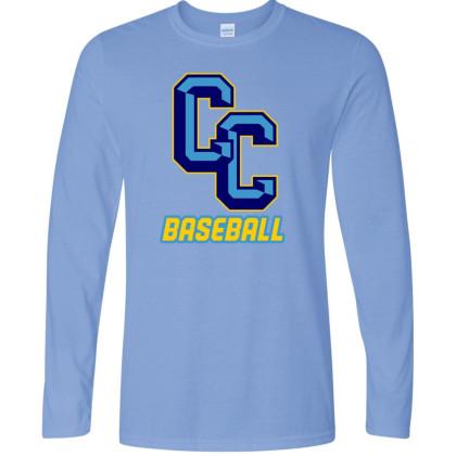 C&C Baseball Long-Sleeve Columbia Blue Cotton Tee