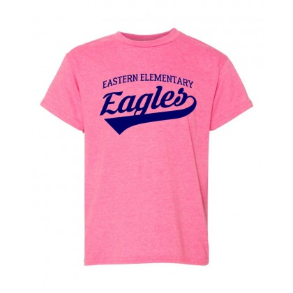 Eastern Elementary Script Cotton Tee | Heather Hot Pink