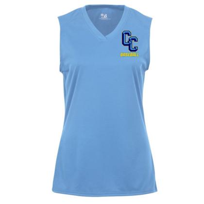 C&C Baseball Ladies Sleeveless V Neck Performance Tee | Small Logo