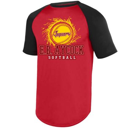 E B Aycock Softball S/S Raglan Performance Tee | Softball Logo