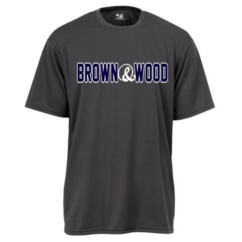 Brown & Wood Warm-Up Tee | Word Log Charcoal