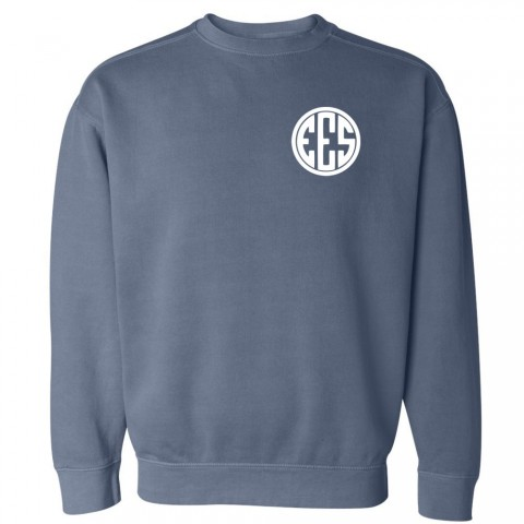 Eastern Monogram Comfort Colors Sweatshirt | Blue Jean