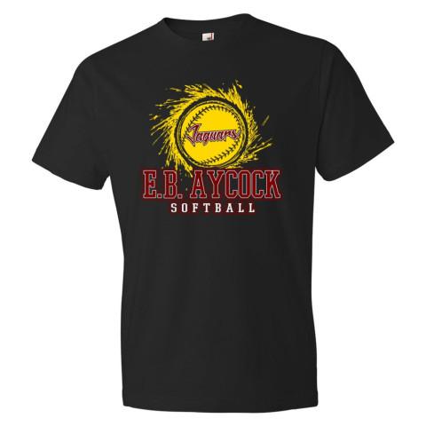 E B Aycock Softball Cotton Tee | Softball Logo | Multiple Colors