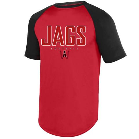 E B Aycock Softball S/S Raglan Performance Tee   Jags Logo