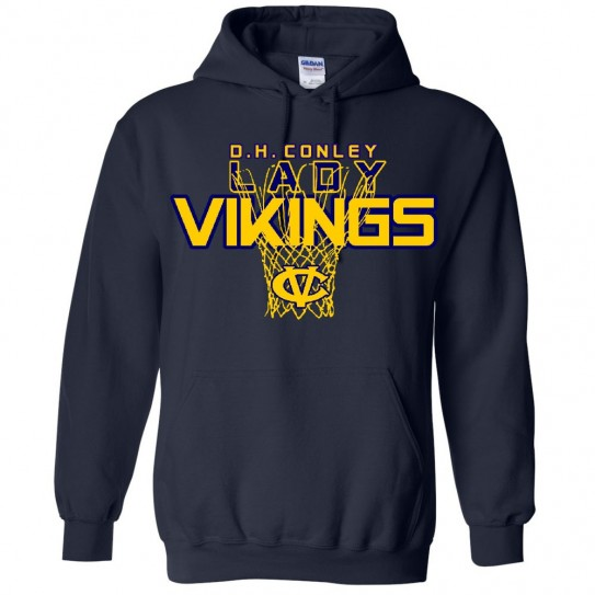 DH Conley Lady Vikings Basketball Cotton Hooded Sweatshirt | Multiple Colors